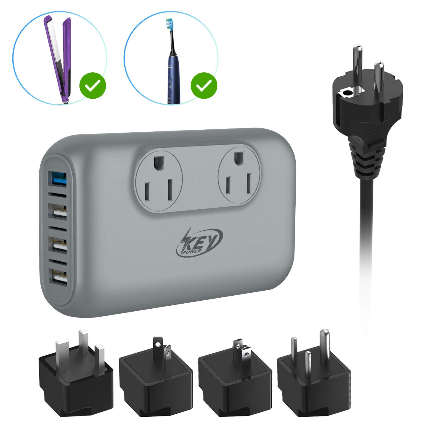 Key Power 220V to 110V Step Down Voltage Converter and International Travel Adapter, for CPAP, Hair Straightener Flat Iron, Hair Curling Iron, Toothbrush, Laptop - [Safely Use USA Electronic Overseas]