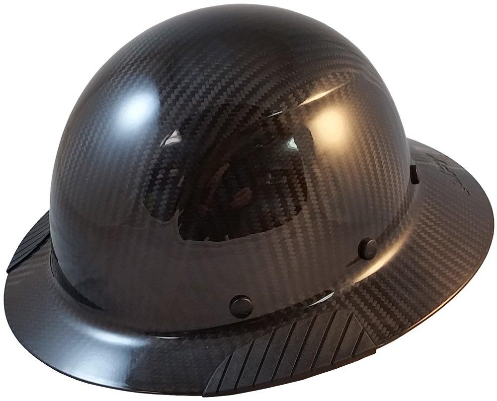 DAX Actual Carbon Fiber Material Hard Hat with Hard Hat Tote- Full Brim, Glossy Black