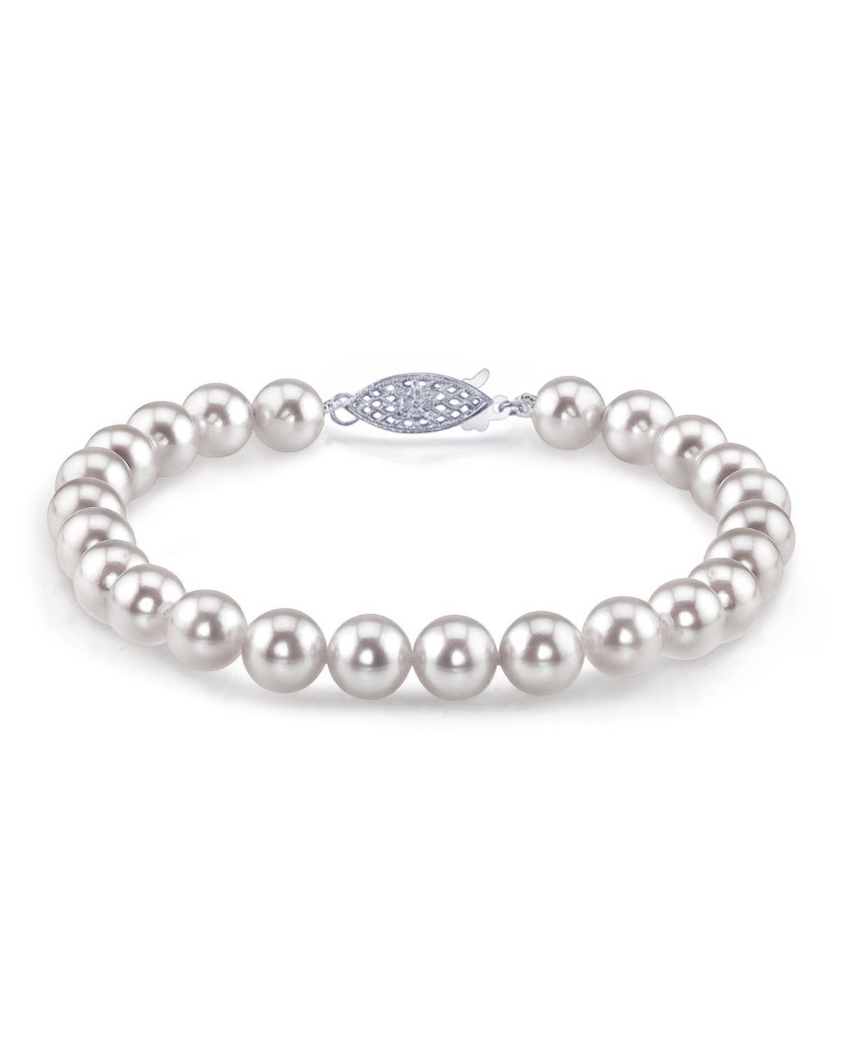 14K Gold 7.0-7.5mm Japanese Akoya Saltwater White Cultured Pearl Bracelet - AAA Quality