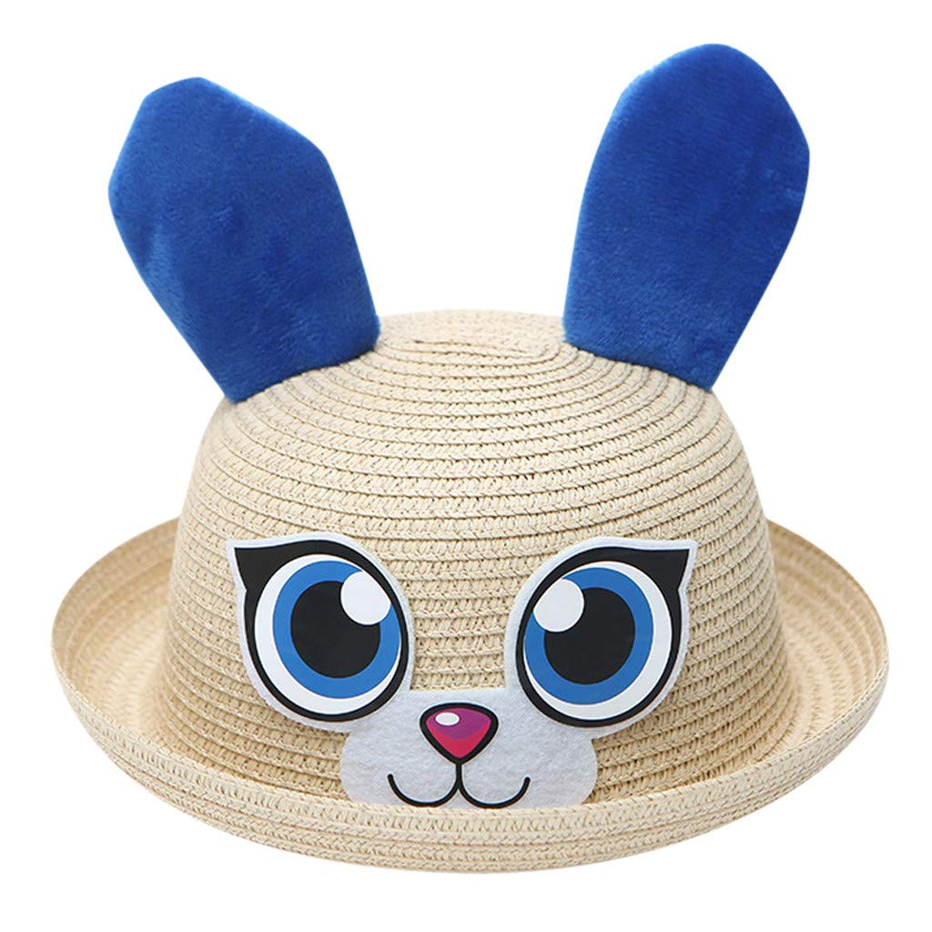 Summer Baby Sun Straw Hat Rabbit Cartoon Visor Cap for Unisex Children Toddler Breathable SPF Protective Beach Hats (Beige, 2/6T)