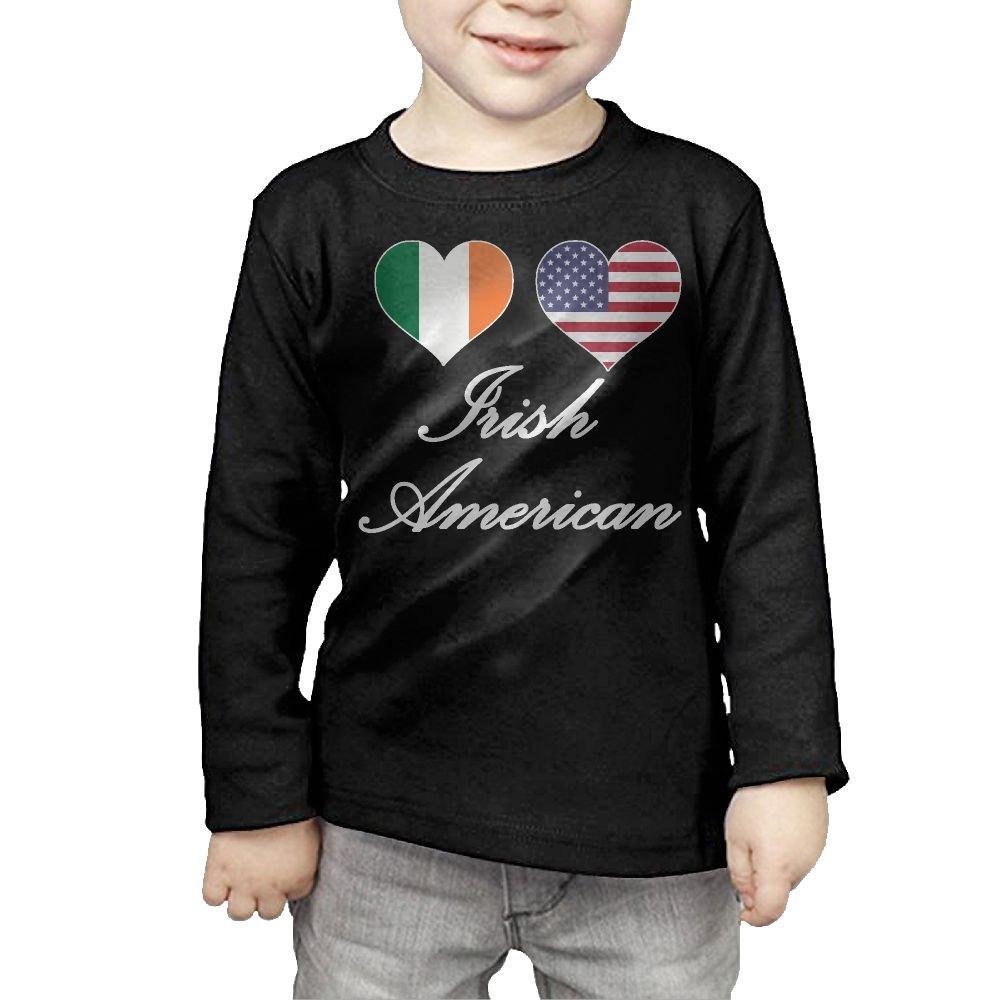CERTONGCXTS Little Boys Irish American Flag Hearts-1 ComfortSoft Long Sleeve Tee