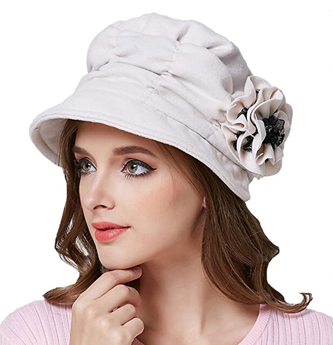 Edwardian Style Hats, Titanic Hats, Derby Hats  Wool Blend Foldable Cloche Bucket Winter Hat with Flower Accent $10.68 AT vintagedancer.com