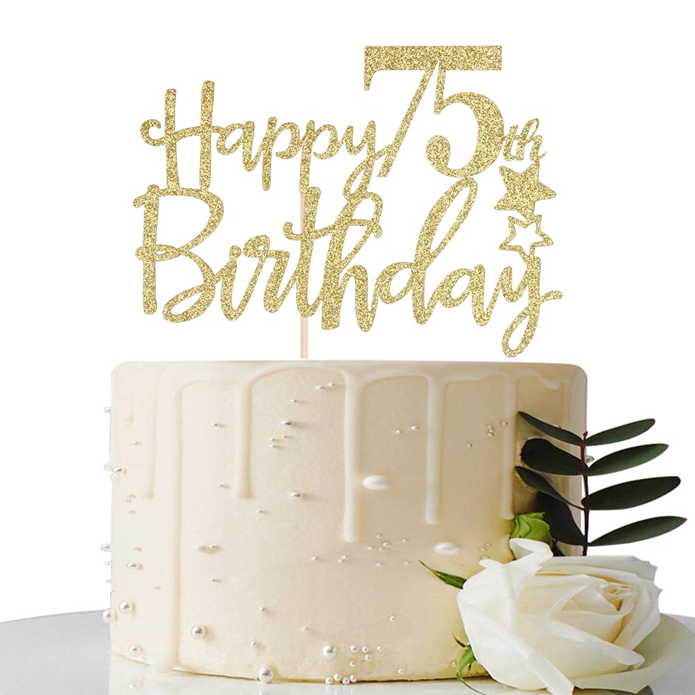 Fabulous Gold Glitter Happy 75Th Birthday Cake Topper Hello 75 Cheers To Funny Birthday Cards Online Bapapcheapnameinfo