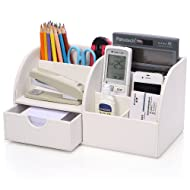 KINGFOM 7 Storage Compartments Multifunctional PU Leather Office Desktop Organizer, Stationery Storage Box Collection, Business Card/Pen/Pencil/Mobile Phone/Remote Control Holder (White)
