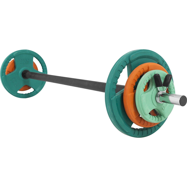 GORILLA SPORTS® Langhantel-Set Aerobic 19,3 Langhantelstange, kg Gummi Gripper – Langhantelstange, 19,3 Gewichtsscheiben und Federverschlüsse 3433d4