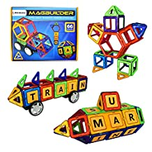 MAGBUILDER 66 Pieces Magnetic Blocks Toy - STEM learning - Educational Construction Engineering, Staking Building Play Set for Kids Ages 3, 4, 5 year old boys & Girls- Best Creative DIY Toy Gift
