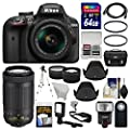 Nikon D3400 Digital SLR Camera & 18-55mm VR & 70-300mm DX AF-P Lenses with 64GB Card + Case + Flash + LED Video Light + Tripod + Tele/Wide Lens Kit by Nikon