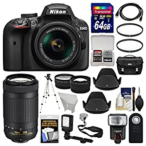 Nikon D3400 Digital SLR Camera & 18-55mm VR & 70-300mm DX AF-P Lenses with 64GB Card + Case + Flash + LED Video Light…