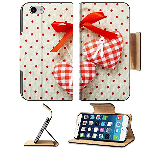 MSD Premium Apple iPhone 6 iPhone 6S Flip Pu Leather Wallet Case IMAGE ID: 35253219 Heart made of cloth in red cell handmade Valentines Day on the bac…