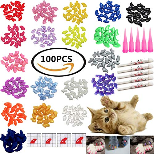 (VICTHY 100 PCS Soft Pet Cat Nail Caps Cats Paws Grooming Nail Claws Caps Covers of 5 Kinds 5Pcs Adhesive Glue Medium Size)