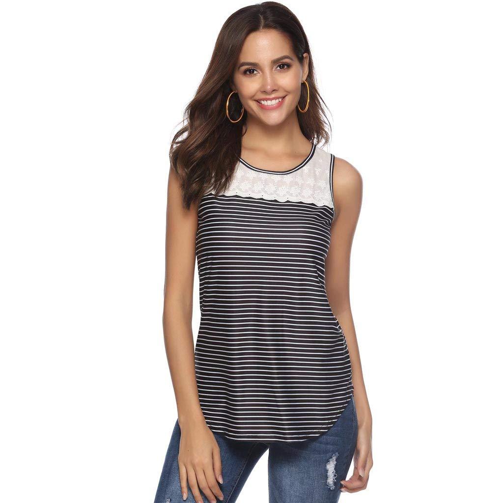 Women Casual Stripe Print Tank Top Summer Hollow Out Lace Stitched Basic Camisole Vest Plus Size Black