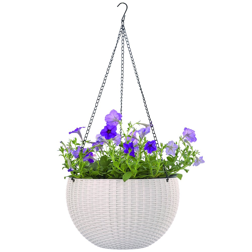 Growers Hanging Basket, Indoor Outdoor Hanging Planter Basket, 10.4 in.Round Resin Garden Plant Hanging Planters Decor Pot (White) by Chinashow