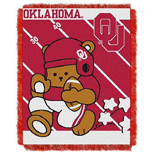 The Northwest Company Officially Licensed NCAA Oklahoma Sooners Fullback Woven Jacquard Baby Throw Blanket, 36