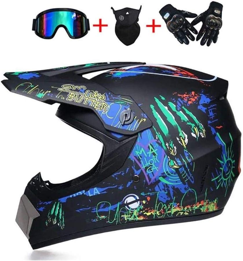 GaLon Suciedad Guantes de Motocross Casco con Gafas D.O.T Certificado for el Hombre y la Mujer Adulta De la Bici de BMX Casco de Descenso DH Cross Racing ATV Offroad MX de Go-Kart MTB Casco