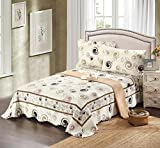 Tache 3 Piece Summer Showers Spiral Reversible Scalloped White Multi Color 100% Cotton Bedspread Coverlet Quilt Set, Queen