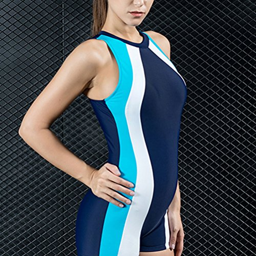 Zhhlaixing Charming Women's Scallop Siamese Swimsuit Fashion Swimming Costume 7795# Dark Blue