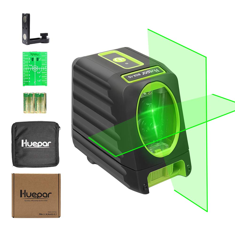 Huepar Self-Leveling Green Laser Level 150ft/45m Outdoor Cross Line Laser, Selectable Laser Lines, Level with Magnetic Mount Base, Carrying Pouch, Battery Included -BOX-1G product image