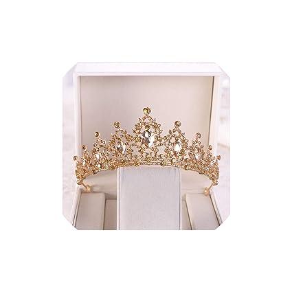 Crystal Tiara Sparkly crown Head Band Wedding Vintage Bling Jewel Gold Ivory