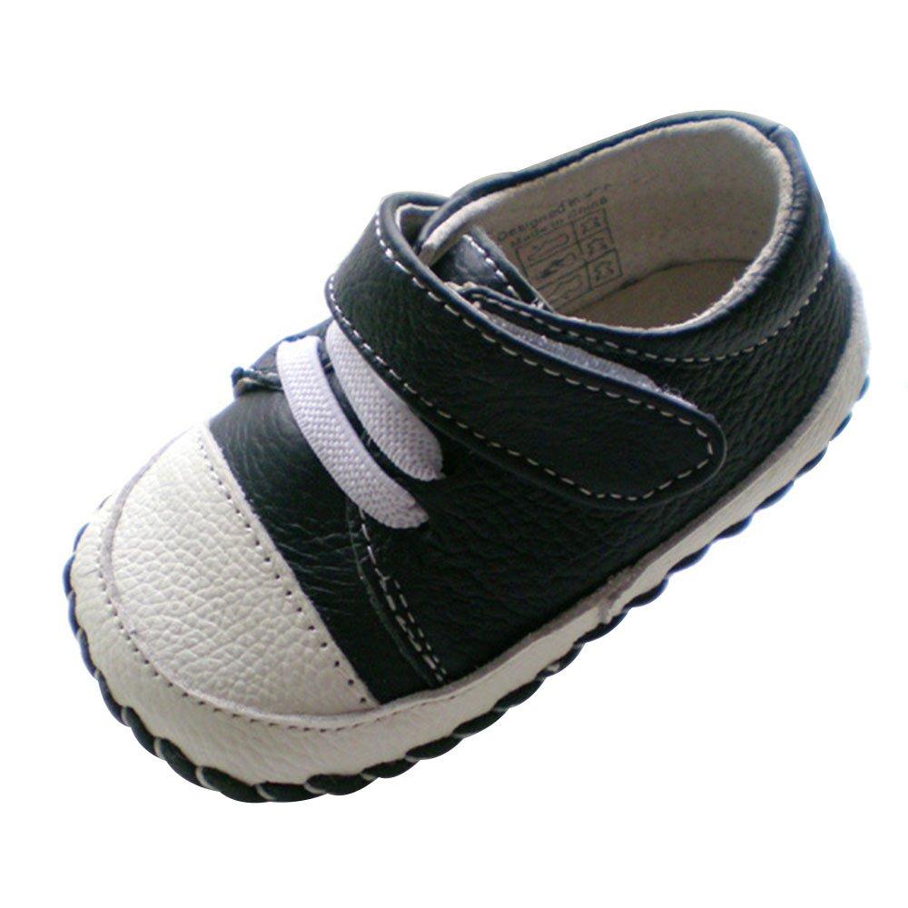 Kuner Infant Baby Boys Girls Genuine Leather Soft Bottom Non-Slip First Walkers Shoes (12.5cm(12-18months), Dark Blue)