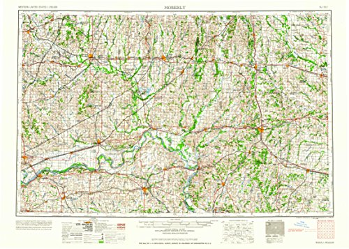 Moberly MO topo map, 1:250000 scale, 1 X 2 Degree, Historical, 1960, updated 1960, 22.1 x 30.9 IN - Paper -