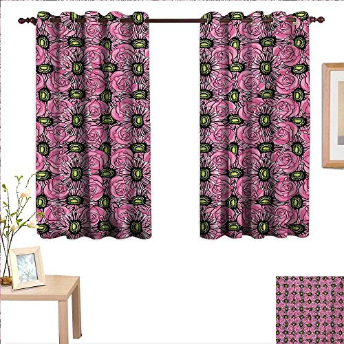 China Garden Rose Block (Garden Art Thermal Insulating Blackout Curtain Roses and Gerbera Flowers Pattern Illustration with Botanical Inspirations 55