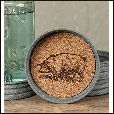 Mason Jar Pig Lid Coaster - Set of 4