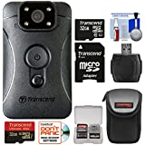 Transcend DrivePro Body 10 1080p HD Video Camera Camcorder with (2) 32GB Cards + Case + Reader + Kit