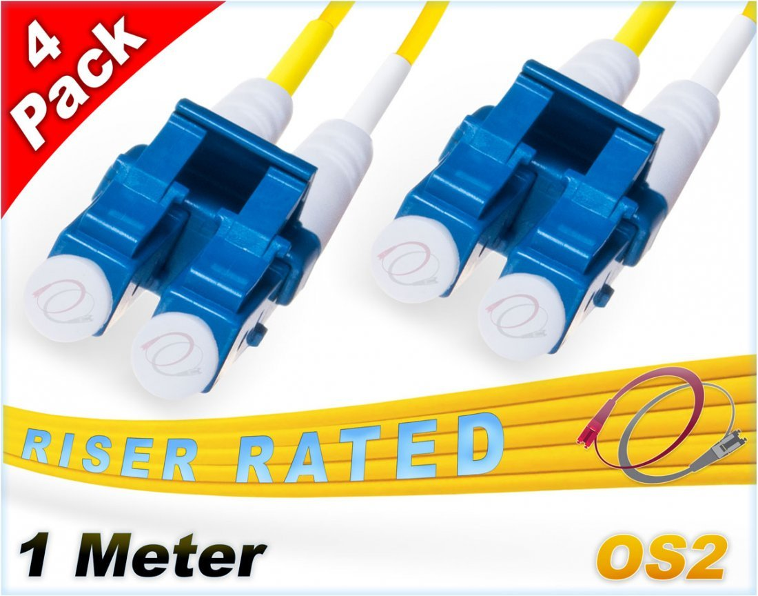 FiberCablesDirect 4Pk 1M OS2 LC LC Single Mode Fiber Patch Cables - 4 Pack | Duplex 9/125 LC to LC Singlemode Jumper Cord 1 Meter (3.28ft) | Pack Options: 2, 4, 6, 10, 12, 24 | pvc patch-cord lc-lc