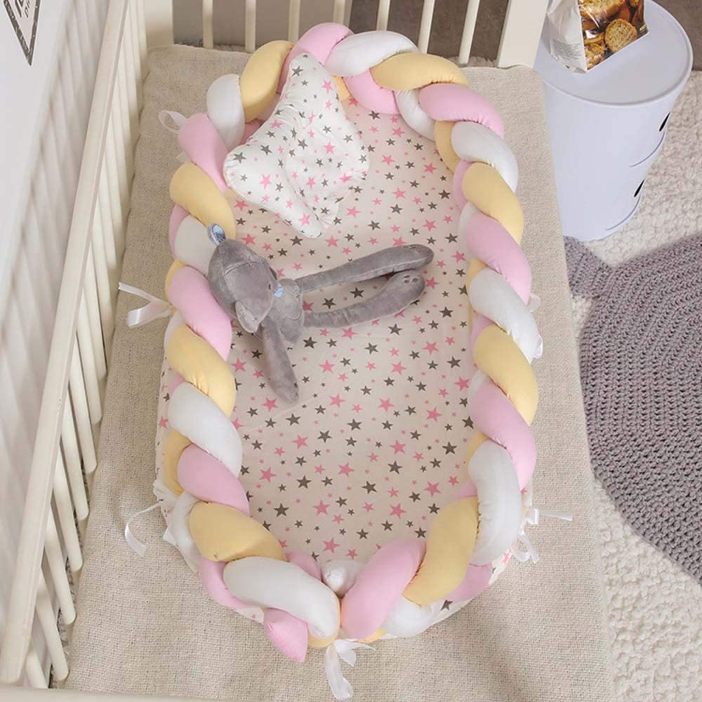 TRIEtree Baby Bassinet for Bed,Baby Lounger for Newborn,Portable Bionic Bed,Breathable Soft Cotton Baby Lounger for Bedroom//Travel
