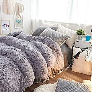 EVDAY Winter Flannel Korean Bedding Sets Ultra Soft Luxury Solid Color Thick Girls Gray Bedding Including 1Duvet Cover,1Bedskirt,2Pillowcases King Queen Full Twin Size