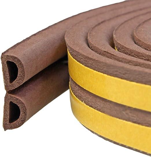Lvguang Burlete Autoadhesivo Sellar Ventana Tira de Sellado en Forma de D Aislamiento Ac/ústico Marr/ón 9 6 mm