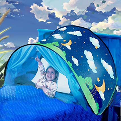 Deluxe Dream Tent with Bag Pop Up Foldable Bed Home Playhouse Kids Birthday Gift