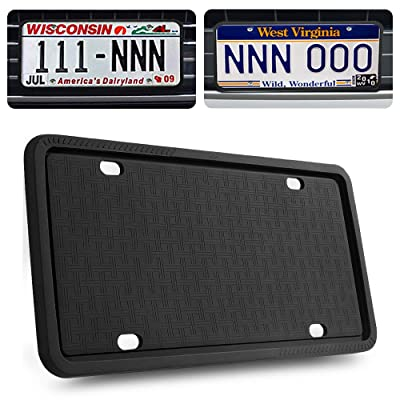 GLISTON License Plate Frame, Black License Plate Frame, Silicone License Plate Frame with Rust-Proof, Rattle-Proof, Weather-Proof: Automotive