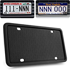 GLISTON License Plate Frame, Black License Plate Frame, Silicone License Plate Frame with Rust-Proof, Rattle-Proof, Weather-Proof