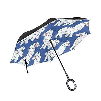 Mnsruu Paraguas invertido Alpaca Llama patrón Doble Capa Plegable Paraguas Resistente al Viento UV Resistente al