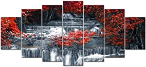 Visual Art Decor XLarge 7 Pieces Canvas Wall Art Red Trees Forest Black and White Waterfall Nature Scenery Picture Prints Modern Home Office Living Room Wall Decoration (02 7 Pieces)