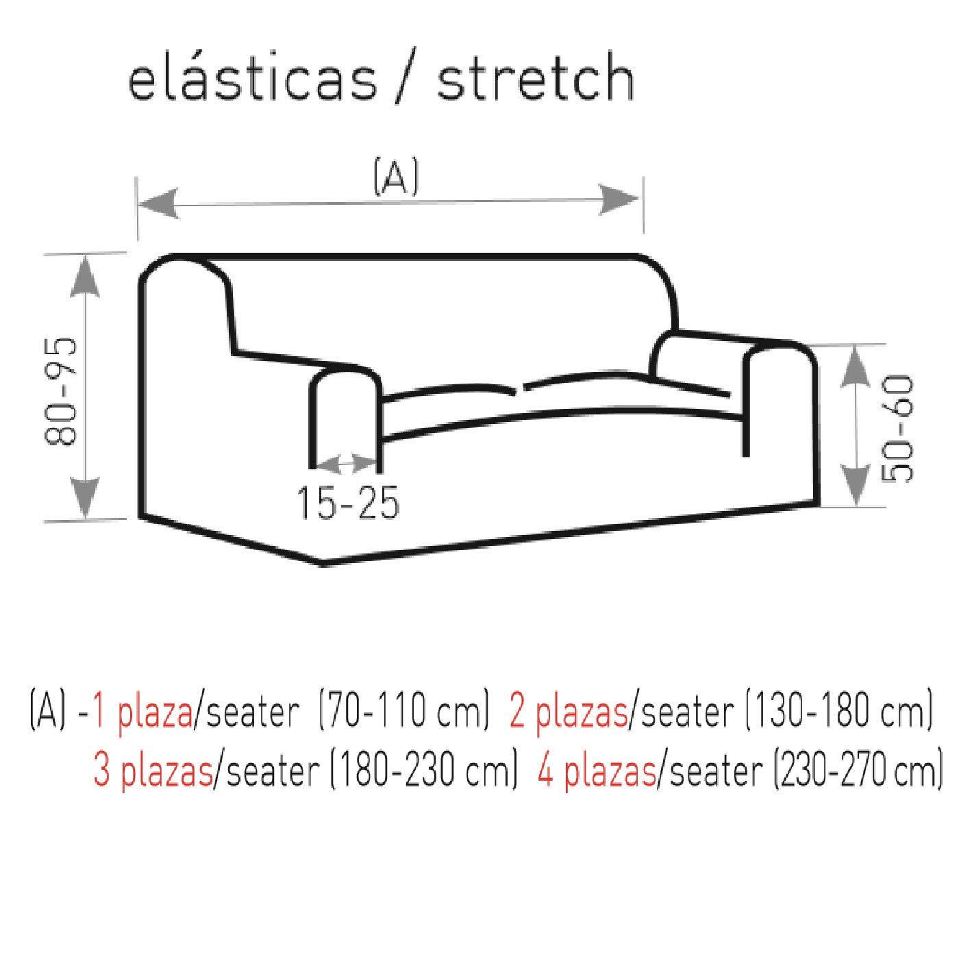 Jarrous Funda de Sofá Elástica Modelo Arucas, Color Gris-10, Medida 3 Plazas – 180-230cm