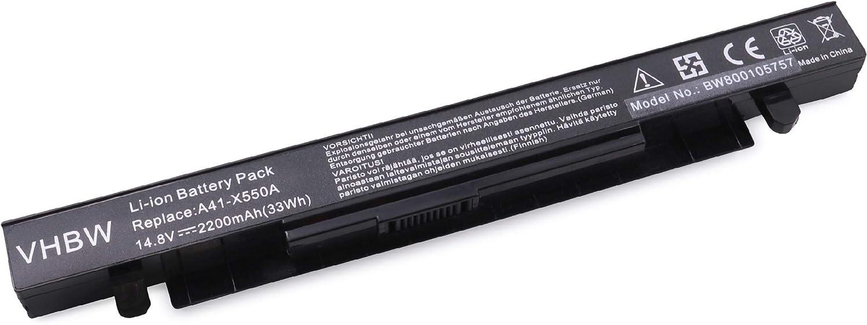vhbw batería 2200mAh (14.8V) para Notebook Laptop ASUS X450, X450V, X450VB, X450VC, X450VE por A41-X550, A41-X550A.: Amazon.es: Electrónica