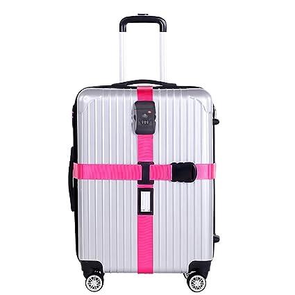 Correa Equipaje-Nylon Resistente/Candado de Combinación TSA-Correa para Viaje Seguro Rosa