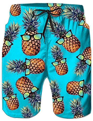 Swim Trunk Set - RAISEVERN Mens Big & Tall Swim Trunks Blue Tropical Hawaiian Glass Pineapple Beachwear Surfing Board Shorts Bathing Suits for Men Male Boy Quick Dry Swim Shorts with Mesh Lining,Small,Glass Pineapple