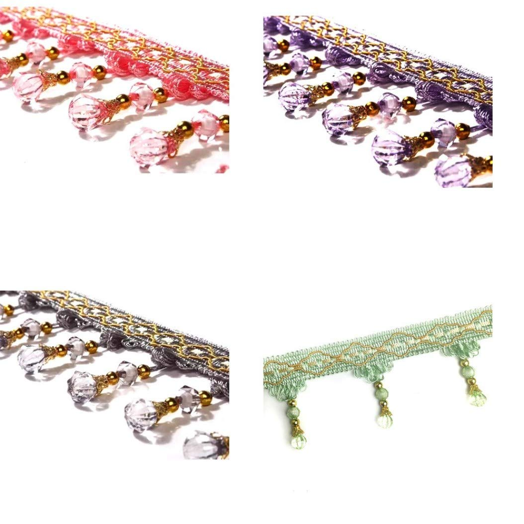 hjfgy reliable 12Yard Curtain Tassel Crystal Beaded Fringe Trim Upholstery Cloth Ribbon Modern for Home Decoration None Deep.