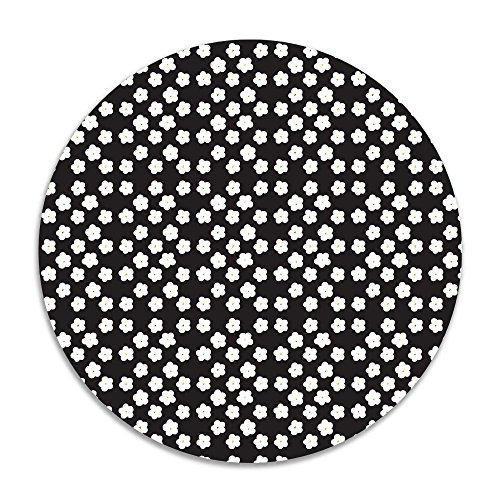 Reteone Abstract Flower Black Background Anti-slip Coral Velvet Round Area Rugs Memory Foam Floor Carpets Mats 15.75 Inch Diameter Bedroom Rug Yoga Chair Mat Doormat (Ikea Edmonton Rugs)