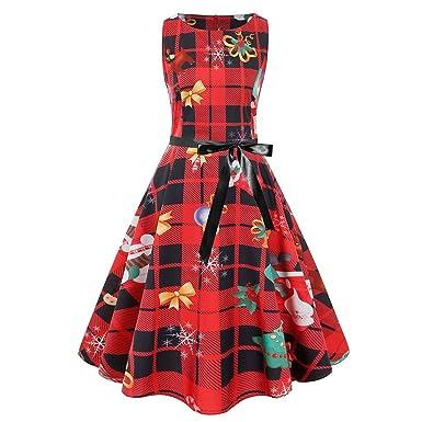 Lester Nell Vestido de Navidad para Mujer, Cuello Redondo, Retro ...