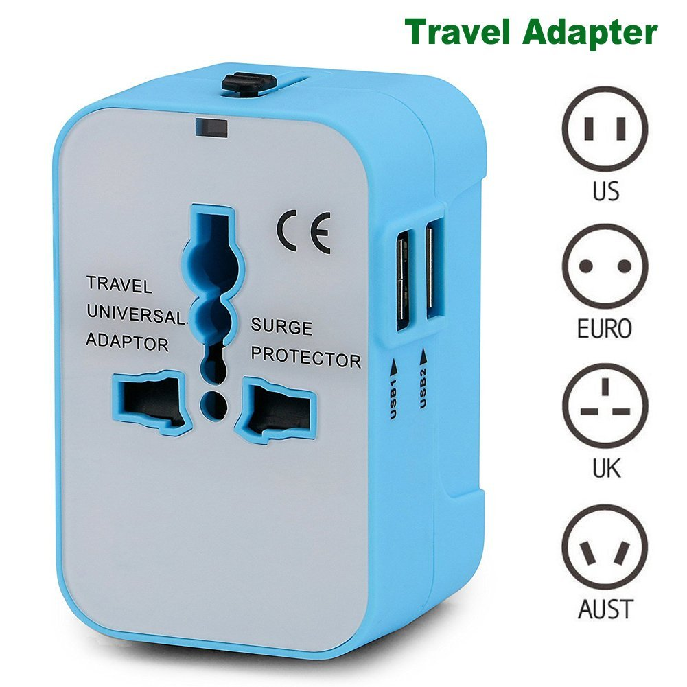 Travel Adapter, Heagstat Worldwide All in One Universal Power Converters USB Wall Charger AC Power Plug Adapter with 2.1Amp Dual USB Charging Ports for USA EU UK AUS Cell Phone Laptop (Blue/White)