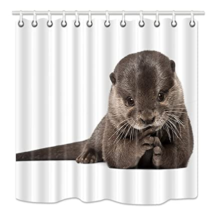 HNMQ Gray Otter Shower Curtain Animals Lover Mildew Resistant Fabric Bathroom Decorations Bath