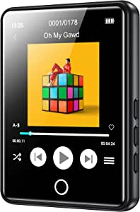 RUIZU Mp3 Player with Bluetooth 5.0,16GB Music Player with FM Radio,Built-in Speaker,Touch Screen HiFi Sound Bluetooth Mp3 Player, Voice Recorder, E-Book, Supports up to 128GB Micro SD Card Black
