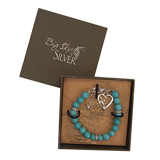 Big Sky Silver Expressions Floating Cross Heart Bracelet in Gift Box