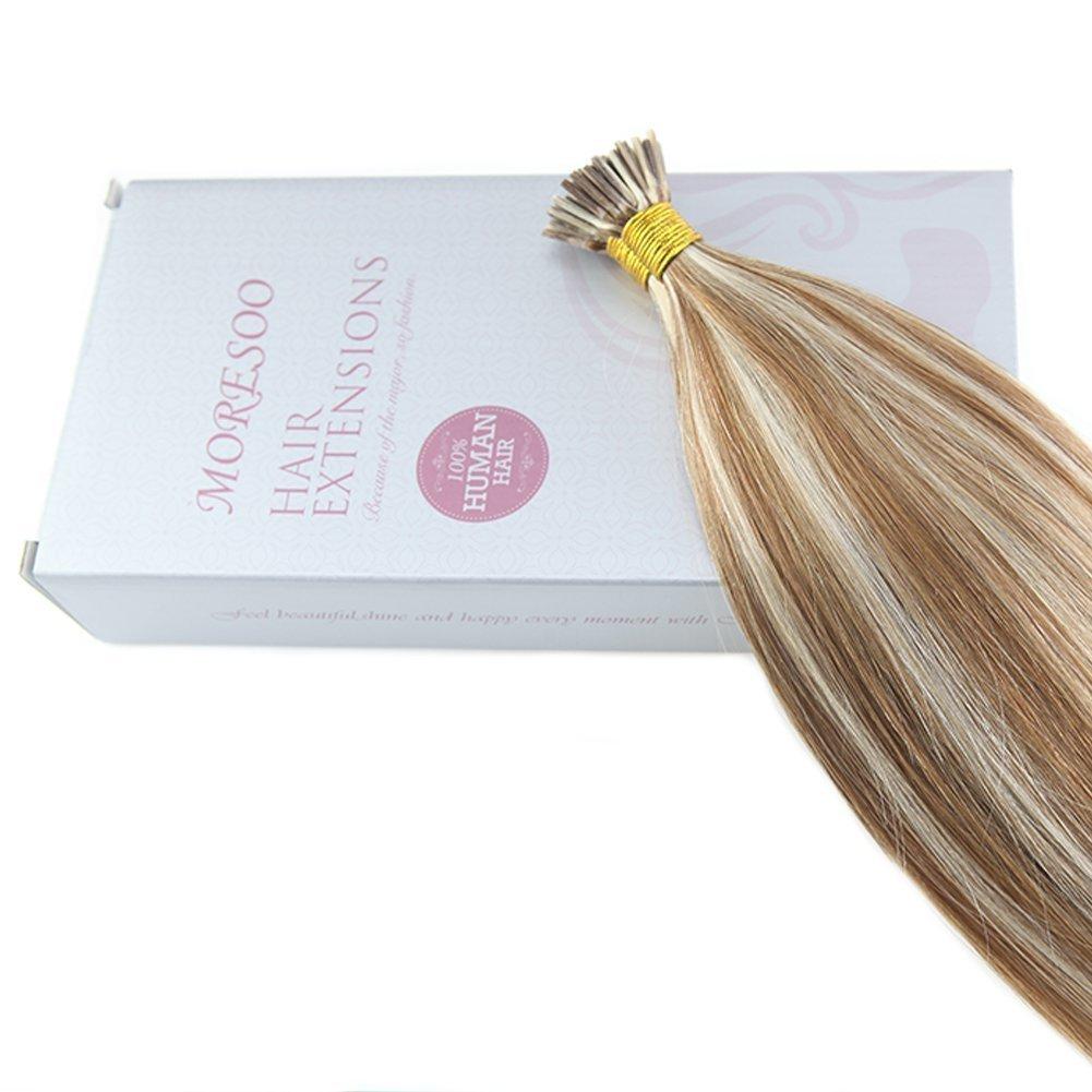 Moresoo Extensiones de Pelo Remy Natural Marron  6 con Rubia Blanca  60 50g  Extensiones Real Natural I Tip Human Hair Extensions 18Pulgadas 45cm   Amazon.es  ... d84b87bc08bc