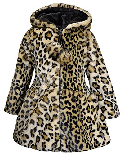 Widgeon American Girls Pom Pom Faux Fur Coat, Leopard Print, Kids Size 6X -