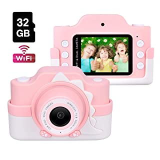 Kids Camera with WiFi, Funkprofi 24 Megapixel HD Kids Digital Camera, Shockproof Video Camcorder with 32GB TF Card and Soft Dinosaur Silicone Cover, 2 Inch IPS Screen, Gift for 4-8 Year Old Girls
